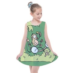 Ostrich Jungle Monkey Plants Kids  Summer Dress by Bajindul