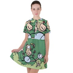 Ostrich Jungle Monkey Plants Short Sleeve Shoulder Cut Out Dress