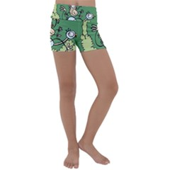 Ostrich Jungle Monkey Plants Kids  Lightweight Velour Yoga Shorts