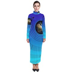 Music Reble Sound Concert Turtleneck Maxi Dress