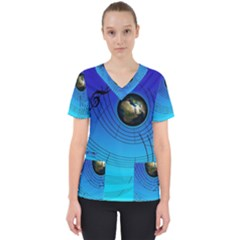 Music Reble Sound Concert Women s V Neck Scrub Top