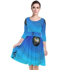Music Reble Sound Concert Quarter Sleeve Waist Band Dress