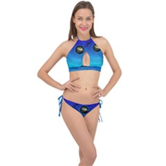 Music Reble Sound Concert Cross Front Halter Bikini Set