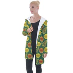 Background Fruits Several Longline Hooded Cardigan