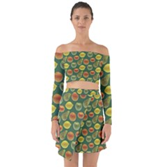 Background Fruits Several Off Shoulder Top With Skirt Set