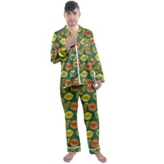 Background Fruits Several Men s Satin Pajamas Long Pants Set