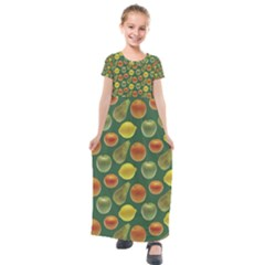 Background Fruits Several Kids  Short Sleeve Maxi Dress