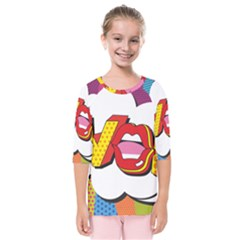 Wow Mouth Polka Pop Kids  Quarter Sleeve Raglan Tee