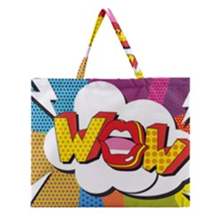 Wow Mouth Polka Pop Zipper Large Tote Bag