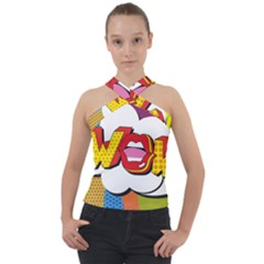 Wow Mouth Polka Pop Cross Neck Velour Top by AnjaniArt