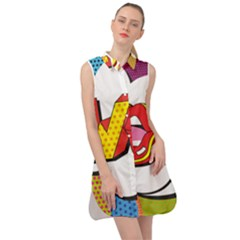 Wow Mouth Polka Pop Sleeveless Shirt Dress by AnjaniArt