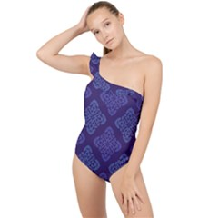 Seamless Continuous Frilly One Shoulder Swimsuit by Alisyart