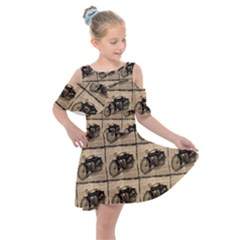 Indian Motorcycle Kids  Shoulder Cutout Chiffon Dress by ArtworkByPatrick