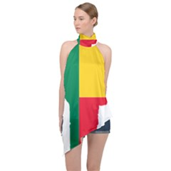 Benin Africa Borders Country Flag Halter Asymmetric Satin Top