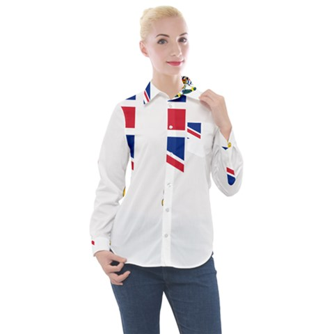 Flag Of The British Antarctic Territory Women s Long Sleeve Pocket Shirt by abbeyz71