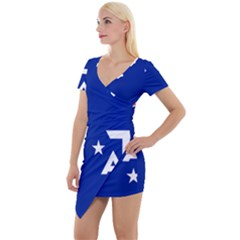 Flag Of The French Southern And Antarctic Lands Short Sleeve Asymmetric Mini Dress by abbeyz71