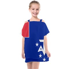 Flag Of The French Southern And Antarctic Lands Kids  One Piece Chiffon Dress by abbeyz71