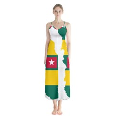 Togo Flag Map Geography Outline Button Up Chiffon Maxi Dress