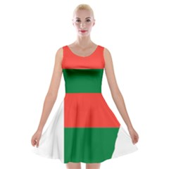 Madagascar Flag Map Geography Velvet Skater Dress by Sapixe