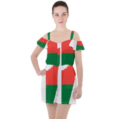 Madagascar Flag Map Geography Ruffle Cut Out Chiffon Playsuit