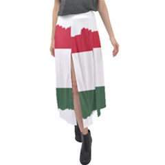 Hungary Country Europe Flag Velour Split Maxi Skirt by Sapixe