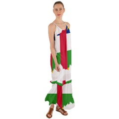 Central African Republic Flag Map Cami Maxi Ruffle Chiffon Dress