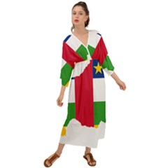 Central African Republic Flag Map Grecian Style  Maxi Dress
