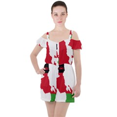 Malawi Flag Map Geography Outline Ruffle Cut Out Chiffon Playsuit