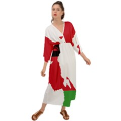 Malawi Flag Map Geography Outline Grecian Style  Maxi Dress