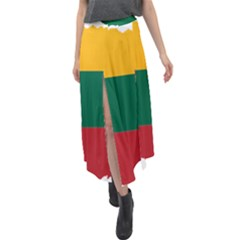 Lithuania Country Europe Flag Velour Split Maxi Skirt