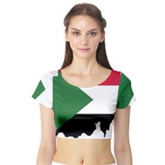 Sudan Flag Map Geography Outline Short Sleeve Crop Top