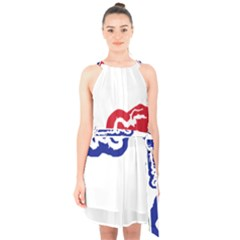 Gambia Flag Map Geography Outline Halter Collar Waist Tie Chiffon Dress