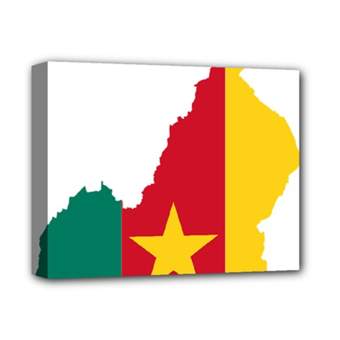 Cameroon Flag Map Geography Deluxe Canvas 14  X 11  (stretched) by Sapixe