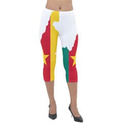 Cameroon Flag Map Geography Lightweight Velour Capri Leggings  by Sapixe
