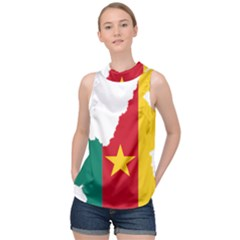 Cameroon Flag Map Geography High Neck Satin Top