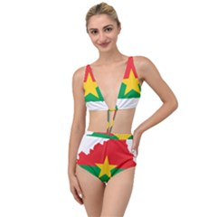 Burkina Faso Flag Map Geography Tied Up Two Piece Swimsuit by Sapixe