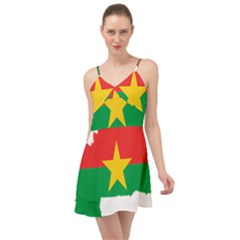 Burkina Faso Flag Map Geography Summer Time Chiffon Dress