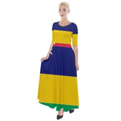 Mauritius Flag Map Geography Half Sleeves Maxi Dress