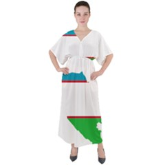 Borders Country Flag Geography Map V Neck Boho Style Maxi Dress