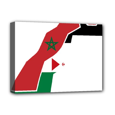 Western Sahara Flag Map Geography Deluxe Canvas 16  X 12  (stretched)