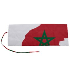 Morocco Flag Map Geography Outline Roll Up Canvas Pencil Holder (s)