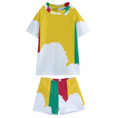 Guinea Flag Map Geography Outline Kids  Swim Tee And Shorts Set by Sapixe