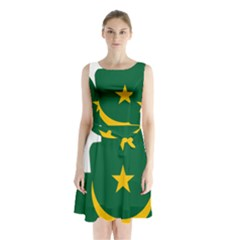 Mauritania Flag Map Geography Sleeveless Waist Tie Chiffon Dress by Sapixe