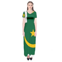Mauritania Flag Map Geography Short Sleeve Maxi Dress