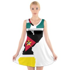 Mozambique Flag Map Geography V Neck Sleeveless Dress by Sapixe