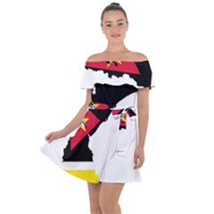 Mozambique Flag Map Geography Off Shoulder Velour Dress by Sapixe