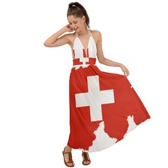 Switzerland Country Europe Flag Backless Maxi Beach Dress
