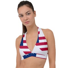 Liberia Flag Map Geography Outline Halter Plunge Bikini Top