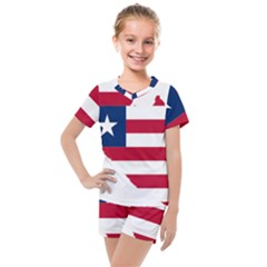 Liberia Flag Map Geography Outline Kids  Mesh Tee And Shorts Set