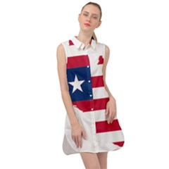 Liberia Flag Map Geography Outline Sleeveless Shirt Dress by Sapixe